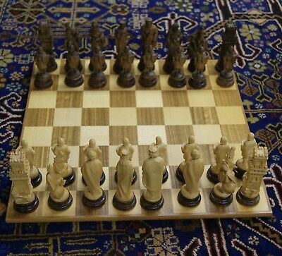 Anri Board and Hand Carved Chess Set