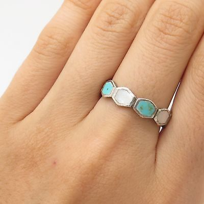 925 Sterling Silver Real Turquoise Gem Mother-Of-Pearl Ring Size 7 3/4