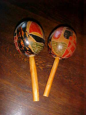 Vintage Hand Carved & Painted Maracas from Mexico Percussion Shakers Folk Art