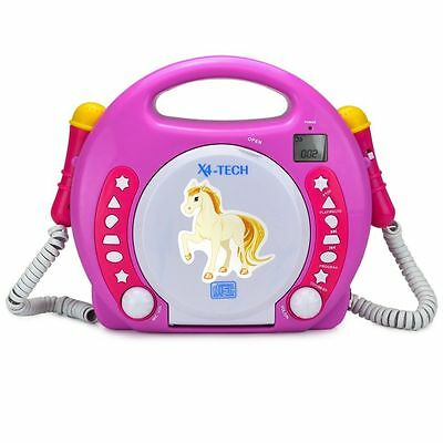 X4-TECH Bobby Joey MP3 Kinder CD-Player zum Mitsingen / CD USB SD-Karte / Pink