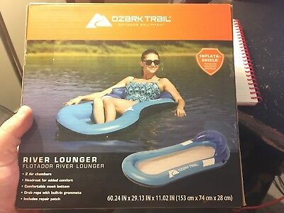 Ozark Trail Aqua Floating Lounge with Head Rest and Mesh Bottom New Sealed