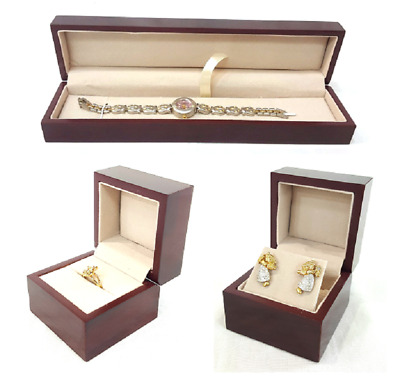 Wooden Heavy Duty Ring Earring Bracelet Jewelry Boxes High Quality Rosewood Box