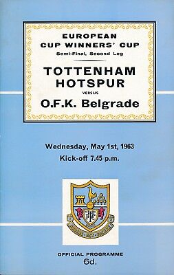 CUP WINNERS CUP SEMI FINAL 1963 Tottenham v OFK Belgrade