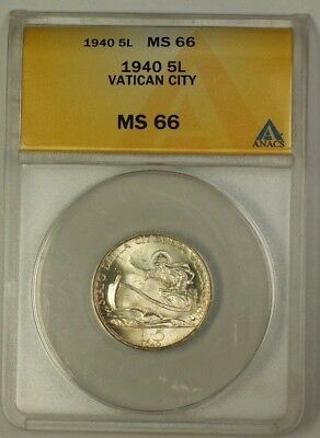 1940 Vatican City Five Lira Silver Coin 5L ANACS MS-66 Gem Piece