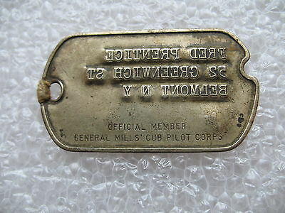 Rare 1945 Official Member General Mills Cub Pilot Corps Dog Tag Jack Armstrong