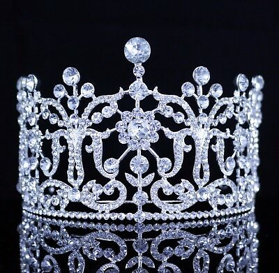 Large Floral Austrian Crystal Rhinestones Tiara Bridal Pageant Prom Wedding T26