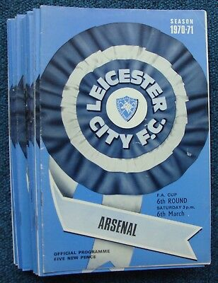 LEICESTER 1970/1 - Season Complete set of home programmes