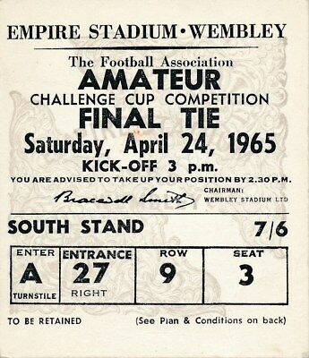 TICKET: FA AMATEUR CUP FINAL 1965: Hendon v Whitby - EXCELLENT