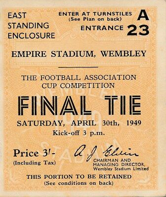 TICKET: FA CUP FINAL 1949 Wolves v Leicester EXCELLENT