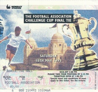 TICKET: FA CUP FINAL 1993 REPLAY Arsenal v Sheffield Wednesday - EXCELLENT