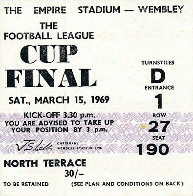 TICKET: LEAGUE CUP FINAL 1969 Swindon Town v Arsenal - EXCELLENT