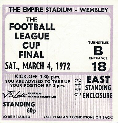 TICKET: LEAGUE CUP FINAL 1972: Stoke City v Chelsea - EXCELLENT