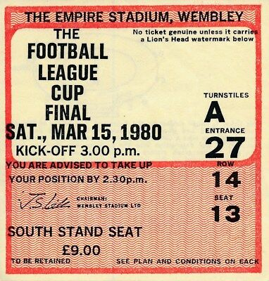 TICKET: LEAGUE CUP FINAL 1980 Nottingham Forest v Wolves - EXCELLENT