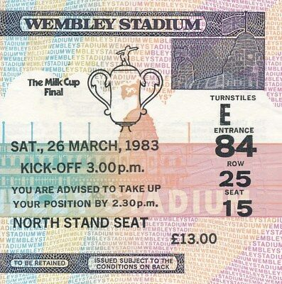 TICKET: LEAGUE CUP FINAL 1983: Man Utd v Liverpool - EXCELLENT
