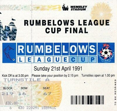 TICKET: LEAGUE CUP FINAL 1991: Man Utd v Sheffield Wednesday - EXCELLENT