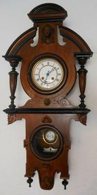 intresting unusual walnut vienna style wall clock by gustav becker