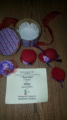 Hitty Red Hat Collection Elizabeth R Couture Rollins Tropicals Hat Box W/ 9 Hats