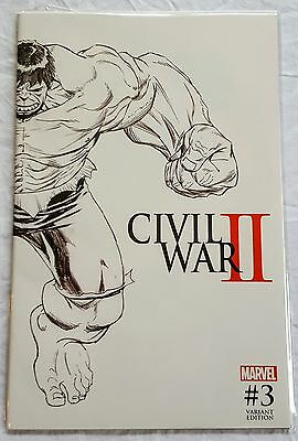 Civil War II #3 Quesada Sketch Variant Cover / Death of Hulk / Marvel Comics