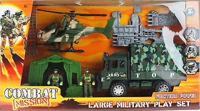Army Combat Mission Large Toy Play Set - Truck, Tent, Helicopter