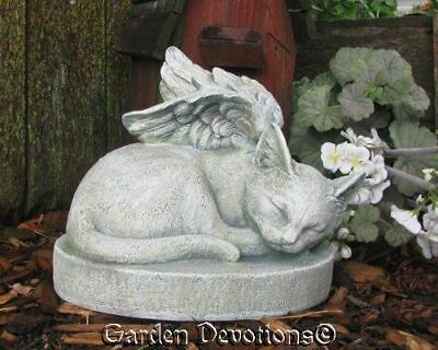 Kitty Cat Angel Garden Statue Grave Stone Marker Pet Memorial Durable Indoor Out