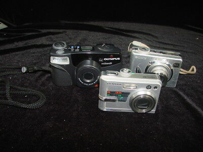 Lot of 3 Cameras 35 mm Olympus Zoom 211 Digital Pentax Optio 60 Sony Cybershot