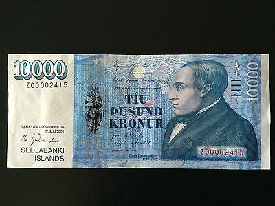 Iceland banknote, Z 10000 kr. from 2013 P#65 serial Z-00.002.415