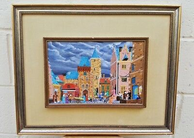 A Magnificent Dutch Oil On Board Painting By F.breebaart Old Market Place