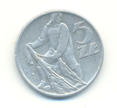 Very Rare.poland Five Zloty 1958.key Date.very Collectable.b.96