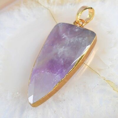 Natural Amethyst Faceted Pendant Bead Gold Plated H101984