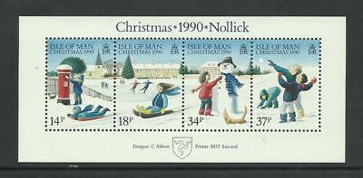 Isle Of Man MNH 1990 Christmas stamps - Black Value Specification M/S