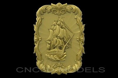 3D Model STL for CNC Router Carving Artcam Aspire Sailing Ship Boat a784
