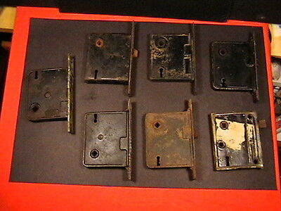 7 Antique Mortise Door Lock Lot Skeleton Key Type Hardware Repair Restore Parts