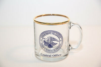 Department of Justice Federal Bureau of Prisons Central Office Glass Coffee Cup