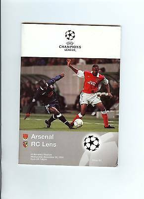 Arsenal v Lens Champions League Programme 1998/99