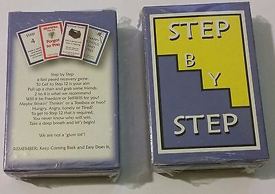 """Alcoholics Anonymous--CARD GAME- """"Step by Step""""----Sobriety Gift"""