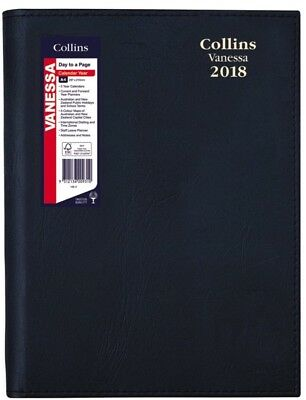 Collins Vanessa A4 Day To Page Black 2018 Diary 145V99 Spiral Bound