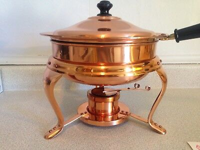 Estoril Hand Crafted Copper Ware 2 Quart Copper Chafing Dish With Stand & Burner