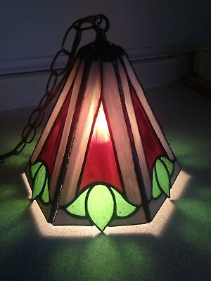 Antique / Vintage Stained Glass Swag Lamp With Tulips, Fantastic Colours