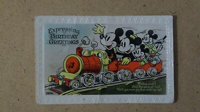 """Mickey Mouse """"expressing Birthday Greetings""""  Train  Postcard By Valentine& Sons"""