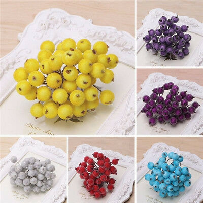 40pcs DIY Mini Christmas Foam Frosted Fruit Artificial Holly Berry Floral Decors