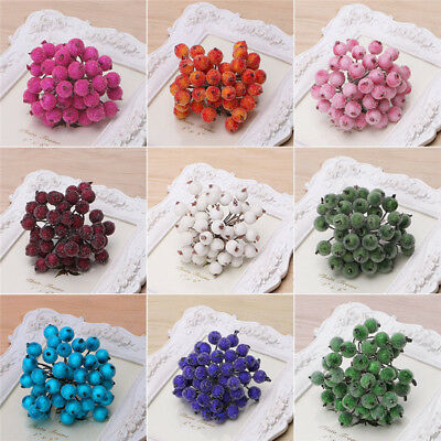 40pcs Mini Christmas Foam Frosted Fruit Artificial Holly Berry Floral Decors Hot