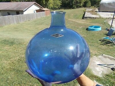 Hand Blown Zeller Morgantown,wv Cobalt Blue Art Glass Huge Demijohn Bottle