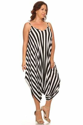 New Womens Plus Size Black White Stripe Harem Jumpsuit Romper Sizes 1x 2x
