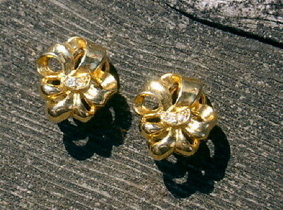 """Gold-Colored BOW CLIP EARRINGS w/Rhinestones Signed """"D"""""""