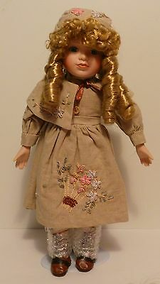 """Beautiful 16"""" Cute Young Girl Porcelain Doll w/ stand - Modern Victorian Style"""