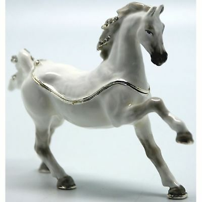 White Arabian Horse TREASURED TRINKET BOX Ornament Home Decor  Animal Figurine