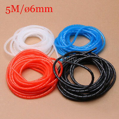 5M 6mm Spiral Cable Wires Tidy Wrap PC Home Cinema TV Management Organizing  Kit
