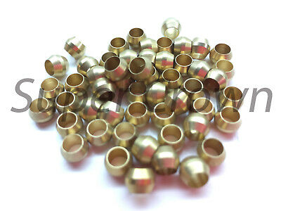 4mm ID x 60pcs Brass Compression Sleeve Ferrule Olive Barrel Ring Soft Copper
