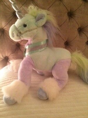 """14"""" Large Chad Valley Lilac, Blue & Green Unicorn Plush Soft Toy,Great Condition"""