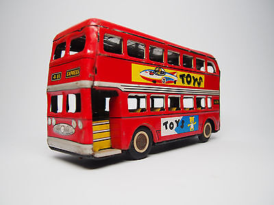 Vintage 1960's Metal Tin Friction TOYS Double Decker Bus MF 844